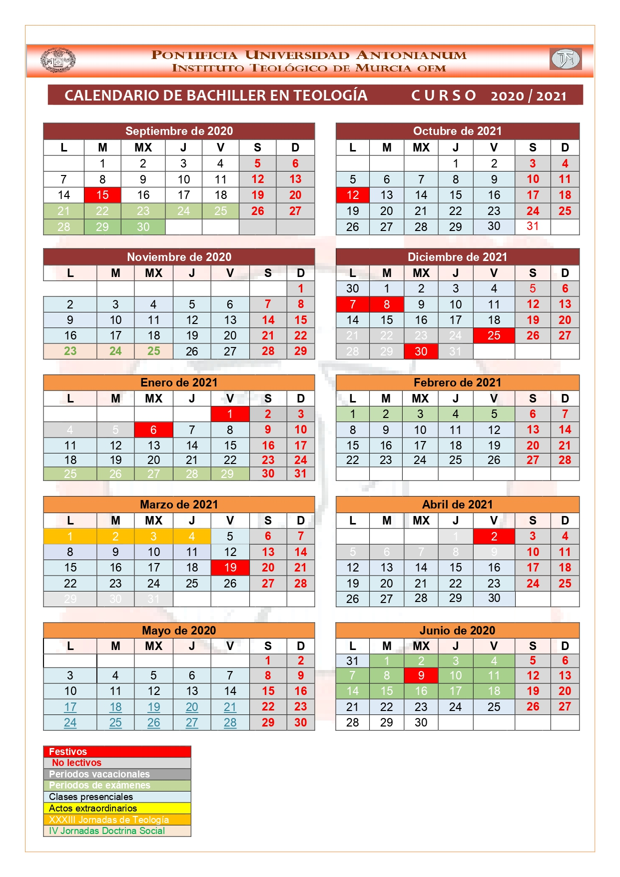 Calendario del curso 2020-2021